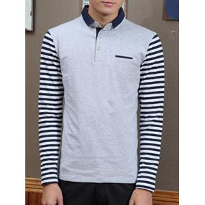 Trendy Stripe  Spliced Turn-Down Collar Long Sleeve Tee For Men
