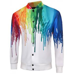 Snap Button Up Multicolor Print Long Sleeve Jacket For Men
