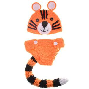 Yarn Knitted Tiger Shape Photography Clothes Set For Baby