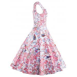 Sleeveless Floral Print Cocktail Dress -