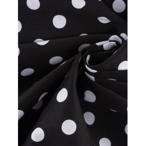 Halter Open Back Polka Dot Cocktail Dress - WHITE/BLACK L