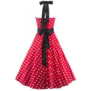 Halter Open Back Polka Dot Cocktail Dress -