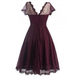 Funky Short Wedding A Line Dress With Sleeves - WINE RED M