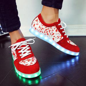 Trendy Lighted and Print Design Sneakers For Women - RED 43