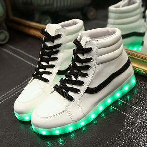 Stylish Led Luminous and High Top Design Sneakers For Women - WHITE 41