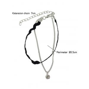 Rhinestone Layered Faux Leather Thread Anklet -
