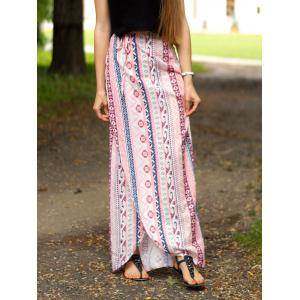 Stylish A Line Ethnic Print Slit Women's Skirt