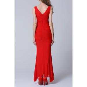 Backless Ruched Floor Length Formal Prom Dress - RED L