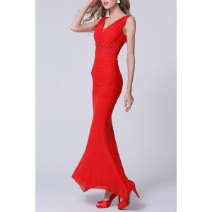Backless Maxi Ruched Formal Slim Prom Dress - RED L
