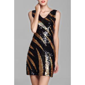 Stripe Sequin Mini Dress - Golden - One Size(fit Size Xs To M)
