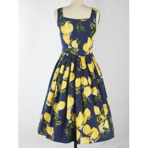 Vintage Lemon Print Button Up Flare Dress - DEEP BLUE 2XL
