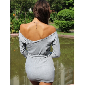 Off The Shoulder Long Sleeve Plain Bodycon Bandage Dress - GRAY S