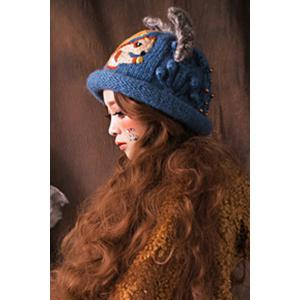 Embroidered Knitted Hat - DEEP BLUE