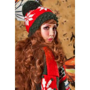 Snowflake Crochet Christmas Hat - RED AND GREEN