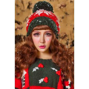 Snowflake Crochet Christmas Hat - Red And Green - 12pcs
