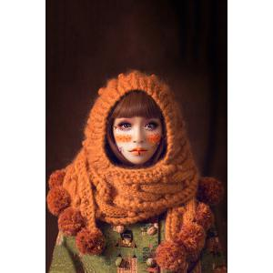 Knitted Extra Long Cloak Hat - Orange