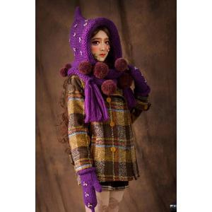 Rhinestone Ball Knitted Cloak Hat - Purple