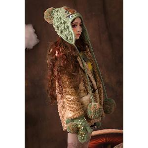 Embroidered Knitted Earflap -