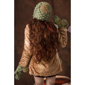 Embroidered Knitted Earflap - GRASS GREEN