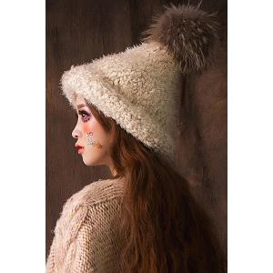 Faux Fur Ball Top Steeple Hat - OFF-WHITE