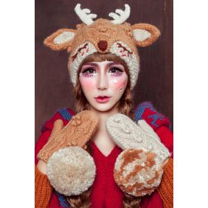 3D Ear and Antler Knitted Hat - Light Brown - One Size