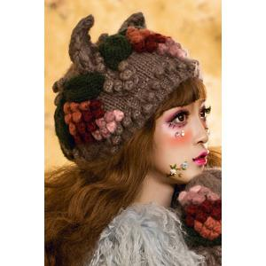 Crochet Ear Floral Hat - BLACK GREY