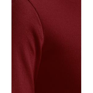 Maxi Long Sleeve Ribbed Winter Knit Dress - WINE RED ONE SIZE