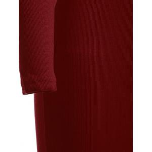 Knitted Fitted Long Sleeve Maxi Jumper Prom Dress - WINE RED ONE SIZE