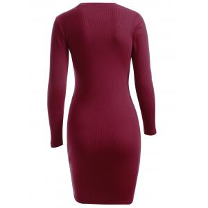 Simple Pure Color Sheath Long Sleeve Knitted Dress - WINE RED ONE SIZE