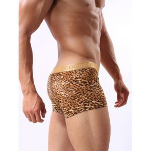 Leopard Pattern U Pouch Design Golden Band Boxer Brief For Men -