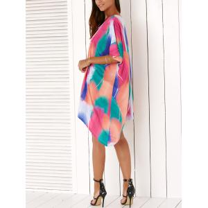 Stylish Feather Print High Low Lace-Up Dress For Women -