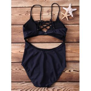 Sexy Spaghetti Strap Cut Out One Piece Swimwear For Women - BLACK S