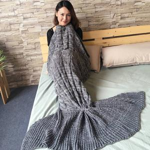 Knitted Braid Mermaid Tail Style Blanket For Adult - GRAY
