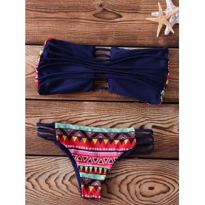Chic Strapless Hollow Out Printed Bikini Set For Women -