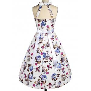 Halter Floral Fit and Flare Cocktail Dress - WHITE 2XL