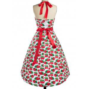 Strawberry Print Bowknot Cocktail Dress - RED XL