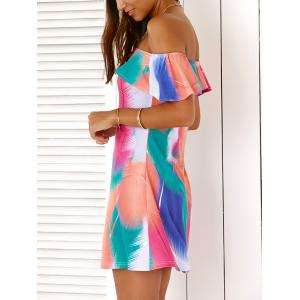 Off The Shoulder Feather Print Flounce Mini Dress For Women -
