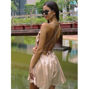 Chic Spaghetti Strap Backless Romper - CHAMPAGNE GOLD M