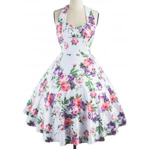 Vintage Halter Neck Floral Print Party Cocktail Print Dress - PURPLE S