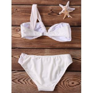 Alluring One-Shoulder Backless Ruched White Bikini Set For Women -