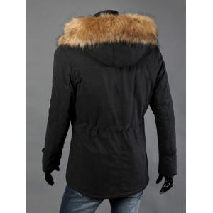 Drawstring Waist Patched Faux Fur Hooded Long Sleeve Padded Coat For Men - BLACK 4XL