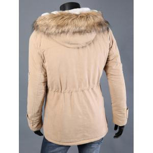 Drawstring Waist Patched Faux Fur Hooded Long Sleeve Padded Coat For Men -