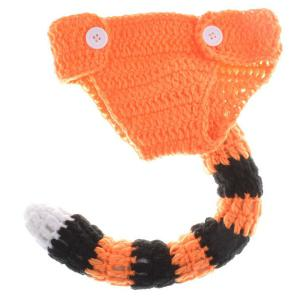 Yarn Knitted Tiger Shape Photography Clothes Set For Baby - ORANGE