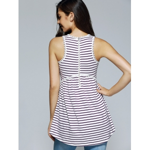 Elegant Round Neck Sleeveless Stripe  Blouse - WHITE XL