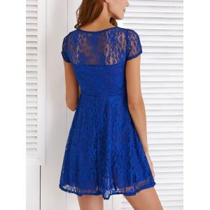 Chic Round Neck Short Sleeve Solid Color Lace Dress -