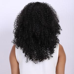 Medium Black Afro Curly Fashion Medium Synthetic Hair Wig For Women - BLACK