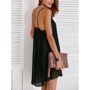 Chic Spaghetti Strap Solid Color Pleated Dress For Women -