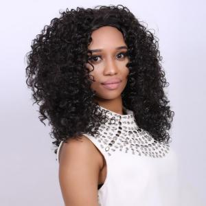 Medium Deep Brown Afro Curly Faddish Medium Synthetic Hair Wig For Women -