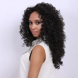 Medium Deep Brown Afro Curly Faddish Medium Synthetic Hair Wig For Women - DEEP BROWN