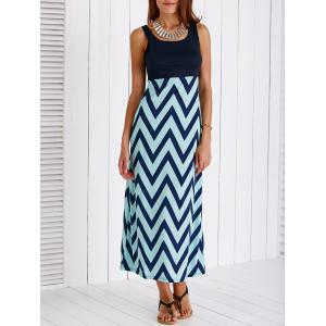 Stylish Scoop Neck Zig Zag Maxi Dress For Women -